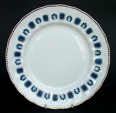 1960's Lubern Artic Blue Bone China 22kt Gold Trim Lg Dinner Plates 27cm Dia VGC