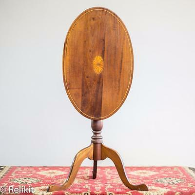 Antique Tilt Top Table 19th Century Mahogany Inlaid Wood Oval Shape