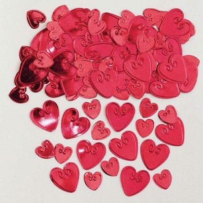 Loving Hearts Ruby Embossed Metallic Table Confetti 14g Party Sprinkles/Decorati