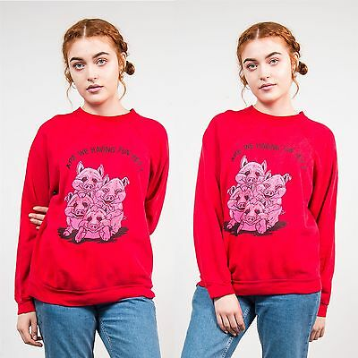 Vintage 80's Pig Sweatshirt Jumper Red Having Fun Creepy Retro Crew Neck 12 14