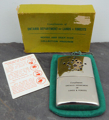 RARE 1960's Ontario Department Lands Forests Moose/Deer Program Hand Warmer MNR
