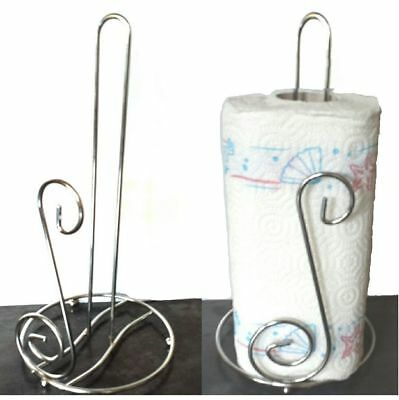 Stainless Steel Kitchen Roll Holder Paper Towel Pole Stand Bnib Chrome Polished