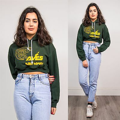 Womens 90's Reworked Cropped Hoodie Sweatshirt Green College Style Usa 8 10