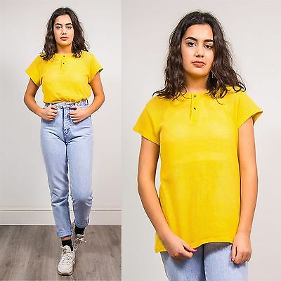 80's Vintage Womens Yellow T-Shirt Top Mesh Net Summer Casual Normcore 10 12