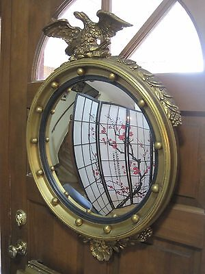 Large Antique Federal Eagle Convex Mirror Wood w/ Gold Gesso Frame