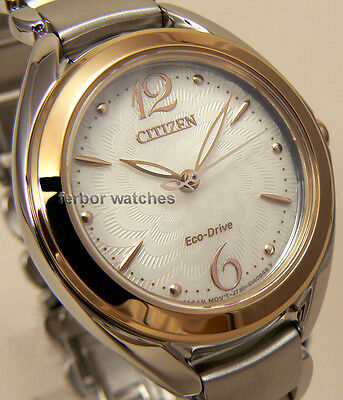 CITIZEN LADY ECO DRIVE TWO TONE SAPPHIRE STAINLESS STEEL BAND 50m FE2074-59A