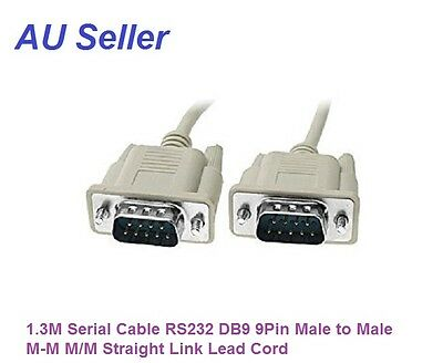 1M-1.3M Serial Cable RS232 DB9 9Pin Male to Male M-M M/M Straight Link Lead Cord