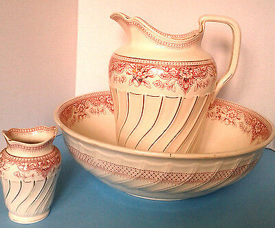 Antique c1891 Copeland Late Spode Pink Transferware Large Pitcher Bowl Ewer Set