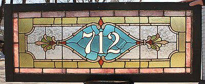 1890s Architectural Antique Aesthetic Victorian Stained Glass Address Window