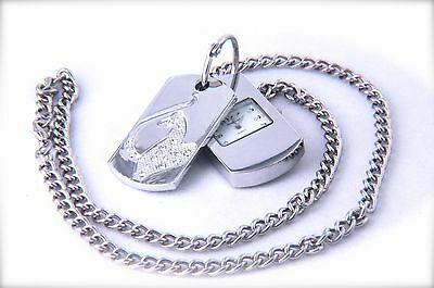 Panther Tag Watch with sparkling crystals & Silver Chain Necklace Pendant
