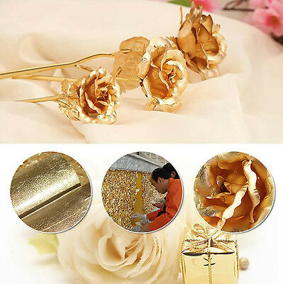 Pretty 24k Gold Plated Foil Rose Flower Bridal bouquet Wedding Party Decor New