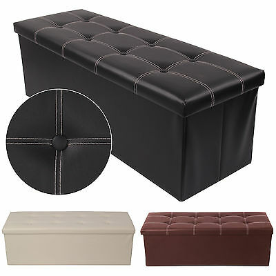 38X38X110cm OTTOMAN FAUX LEATHER STOOL FOLDING SEAT CHEST FOLDABLE STORAGE BOX