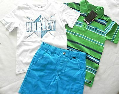 New Nwt Boys Size 5 Hurley 3 Piece Outfit Set Shorts T Tee Polo Shirt Green Blue