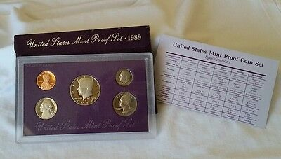 1989-S US Mint proof 5-coin set, Original Government Packaging, Collectible Item