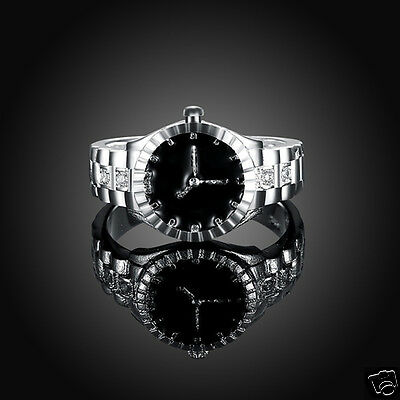 Special Silver Plated Zircon Round Finger Ring Watch Elegant Practical Jewelry