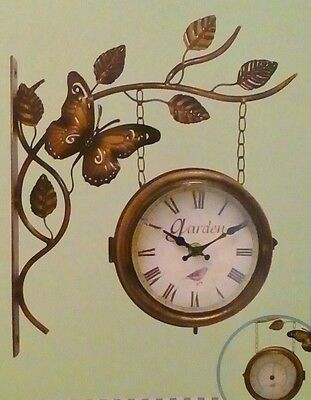 metal outdoor garden clock and thermometer metal ornate butterfly