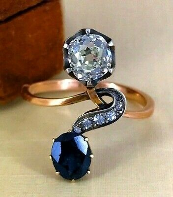 """Antique Russian Alexandrite Diamond """"You and Me"""" Gold Ring, St.Petersburg 1898"""