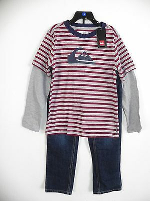 New Nwt Boys Size 6 Quiksilver 2 Piece Outfit Set Jeans & Long Sleeve Shirt Gray