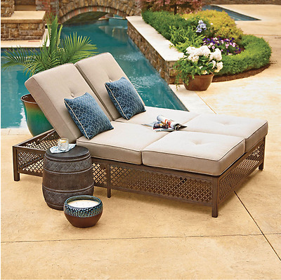 Double Chaise Lounger with Geobella Fabric Yard Garden Outdoor Patio Furniture