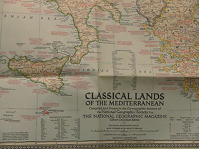 Vintage 1949 National Geographic Map of the Classical Lands of the Mediterranea