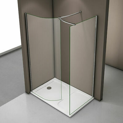 Aica Luxury Walk In Shower Enclosure & Tray Curved Glass Cubicle Screen Panel