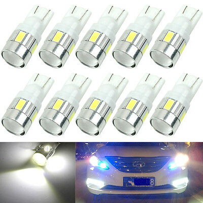 10x White T10 W5W 5630 6-SMD LED Car Wedge Side Light Bulb Lamp 168 194 192 158