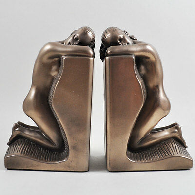 Pair of Art Deco Naked Lady Bookends. Cold Cast Bronze Sculpture / Figurine.New