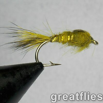 1 dozen (12) - Gold Ribbed Hare's Ear - OLIVE