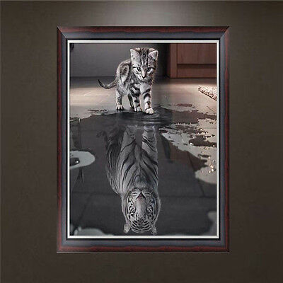 5D Diamond Embroidery Painting Cat And Tiger Cross Stitch Home Decor DIY
