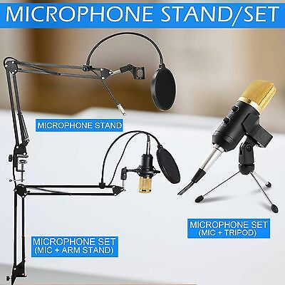 Condenser USB Microphone Kit Studio Suspension Boom Scissor Arm Stand Audio Set