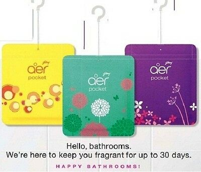 New Godrej Aer Pocket Bathroom Fragrances - 30 g (Pack of 3) - Free Shipping