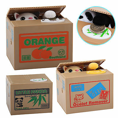 Creative Piggy Bank Panda Cat Steal Money Coin Saving Box Pot Case Storage Kids