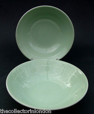 """TWO Wood Woods & Sons Green Beryl Soup Cereal or Dessert Bowls 16.5cm (6"""") VGC"""