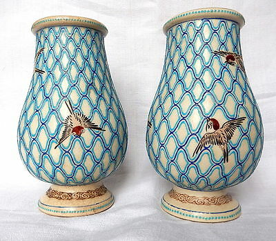 Beautiful and rare pair of Japanese Satsuma vases