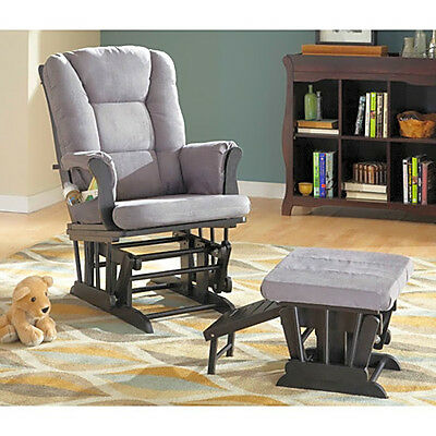 Rocker Glider Chair And Ottoman Baby Nursery Modern Microfiber Furniture Gray