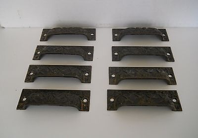 Lot Of 8 Ornate Vintage Metal Eastlake Cabnet/bin/drawer Pulls