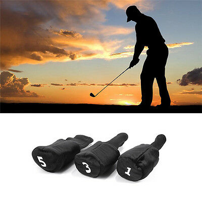 3Pcs Knitted Golf Club Headcovers Black for No.1 3 5 golf wood club Head Covers