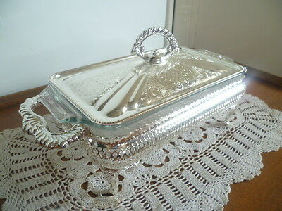 VINTAGE SILVER SERVING DISH with LID - UNUSED in BOX - 50 yo - (MADE IN ENGLAND)