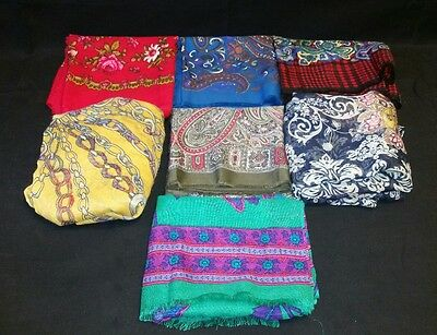 Lot of 7 Cotton Scarves Wraps Vintage Now Square Floral Paisley Extra Large