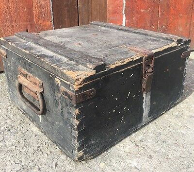 Vintage Antique Victorian Storage Chest Trunk Crate Industrial Architectural
