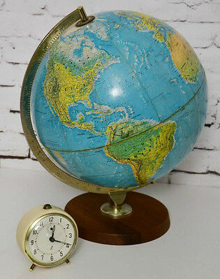 Vintage World Atlas Globe George Philip & Son Teak Base 1973 [PL3362]