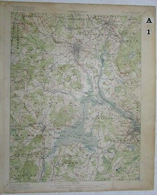 Portsmouth Dover New Hampshire Maine vintage 1918 USGS Topo chart
