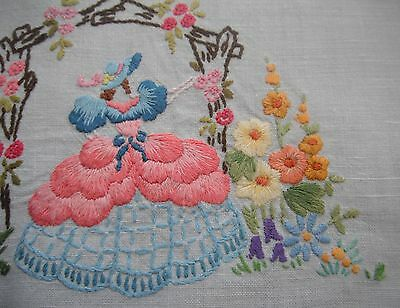 Vintage linen tray cloth with hand embroidered lady in a crinoline gown