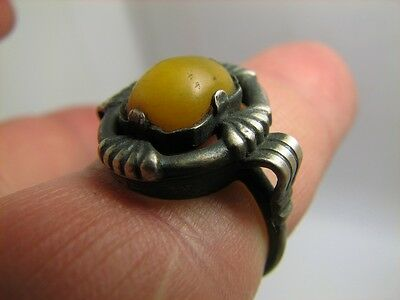 Very Nice  Old Vintage  Silver  Ring With Real Baltic  Amber #5629