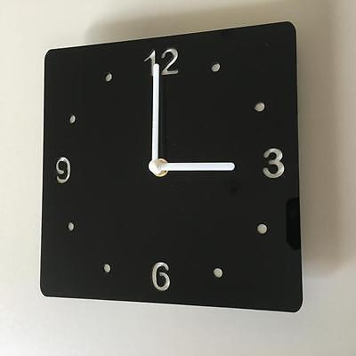 Square Black & White Clock - (White Backed), White Hands & Silent Sweep Movement