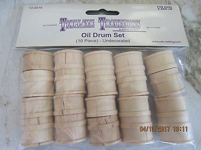 MTH Wooden Oil Drum Set 10 pieces tinplate traditions (NEW)