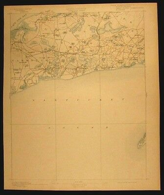 Yarmouth Massachusetts Cape Cod Chatham vintage 1898 USGS Topographical chart