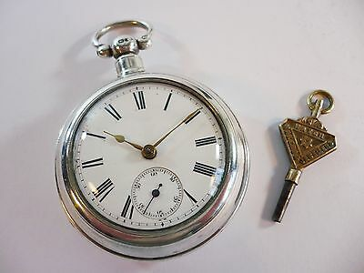 Antique English Solid Silver Pair Case Chain Driven Pocket Watch + Key Working