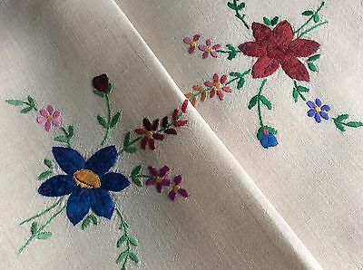 Lovely Vintage Linen Hand Embroidered Tray Cloth ~ Raised Florals
