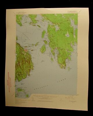 Bar Harbor Maine 1960 vintage USGS Topographical chart map